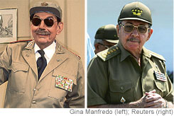 [Armando Robl[aacute]n as Ra[uacute]l Castro; the real Mr. Castro (right).]